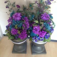 Two artificial flower pots