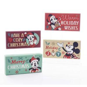 mickey mouse christmas sign set 4 wood block santa table decor 5