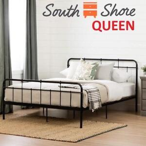 NEW SOUTH SHORE BED FRAME QUEEN 11683 209944766 METAL BLACK HOME FURNITURE BEDROOM DECOR