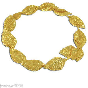 *Roman Greek Goddess Gold Leaf Laurel Wreath Headpiece Toga Fancy Dress Costume*