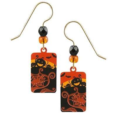 Sienna Sky Pumpkin Patch Halloween Scene Pierced Earrings Black & Orange  (Halloween Sky)