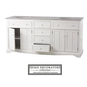 "NEW* HDC 72"" FREMONT DOUBLE VANITY - 118044712 - HOME DECORATORS WHITE CABINET W/ GRANITE VANITY TOP IN GREY BATHROOM..."