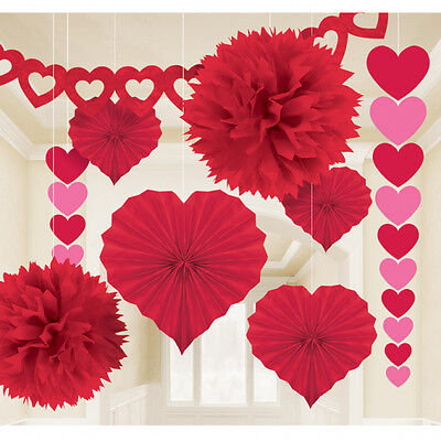 Red Paper Heart Giant Decorating Room Hanging 9 Piece Kit  (Valentines Day Party)