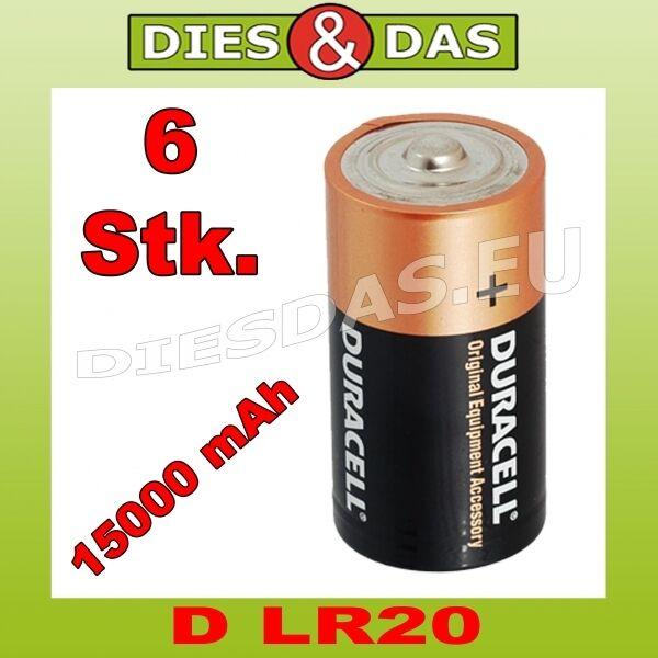6 Piece Duracell D OEM ORIGINAL EQUIPMENT MANUFACTURER Battery Mono LR20 MN1300