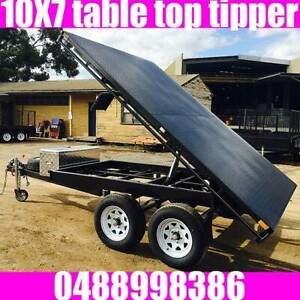 10x7 table top tandem tipper trailer flat top 2000kgs also 10x6