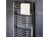 new 1600 x 600 curved heated towel radiator--warmer new'