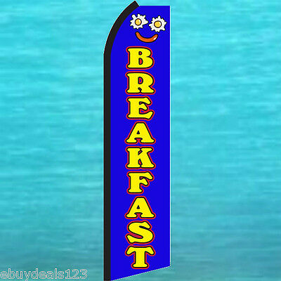 Breakfast Blue Flutter Feather Flag Swooper Vertical Advertising Sign Bow Banner