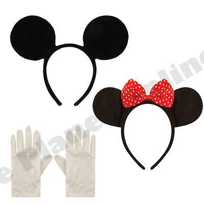 Minnie Mickey Maus Ohren Stirnband & Weiße Handschuhe