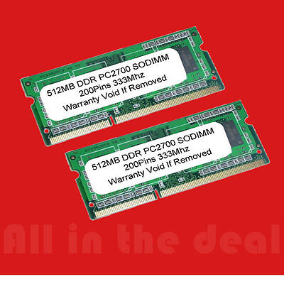 Ddr 333 Sodimm Memory (SODIMM 1GB 2 X 512MB PC2700 DDR 333 200p LAPTOP MEMORY )