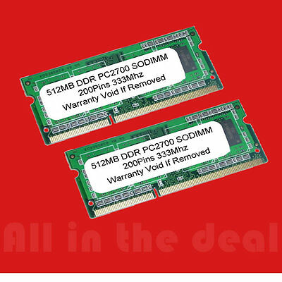 SODIMM 1GB 2 X 512MB PC2700 DDR 333 200p LAPTOP - Pc 2700 Ddr Sodimm Laptop