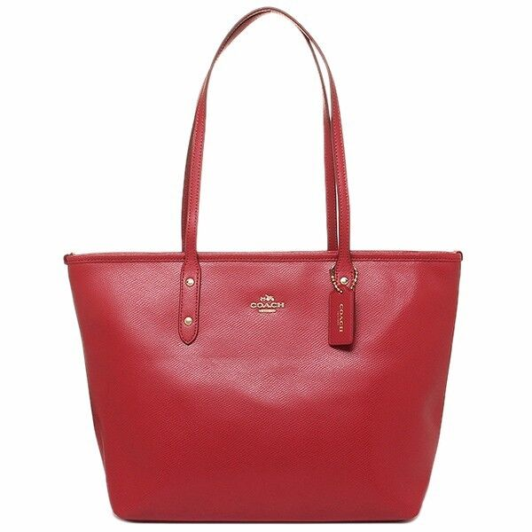 COACH CITY ZIP TOP LEATHER TOTE