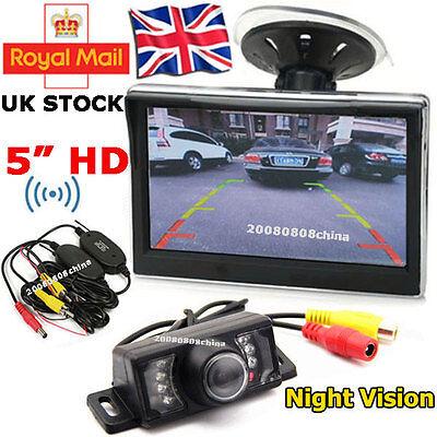 "Wireless Car Reverse Rear View Kit 7LEDs IR Reversing Camera + 5"" HD LCD Monitor"