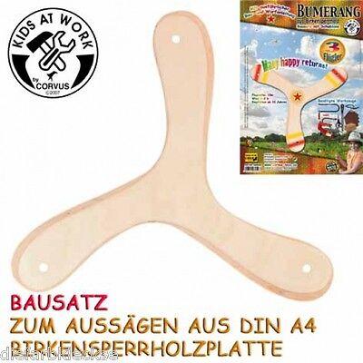 Bumerang 3 Flügler Kinder zum selber gestalten aus Holz Anfänger Boomerang Neu