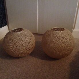 Wicker ball shaped light shades
