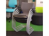 Light Grey Orangebox Cantilever Stacking Chair with Leather Seatpad