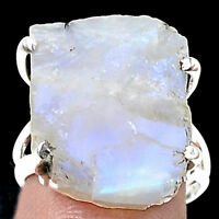 NATURAL ROUGH MOONSTONE SET IN A 925 STERLING SILVER RING Sz 7.5