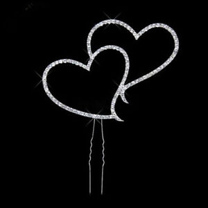 Diamond-look Intertwined Rhinestones Hearts Cake Topper - New