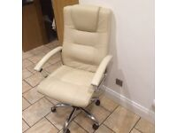 Cream faux leather office chair