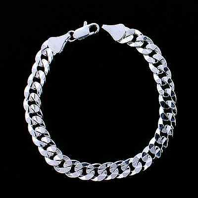 MENS 10MM STERLING SILVER PLATED ITALIAN DIAMOND CUT CUBAN CURB LINK BRACELET ()