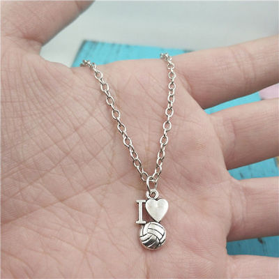 I Love Volley-ball silver Necklace pendants fashion accessory,creative Gifts - I Love Volleyball