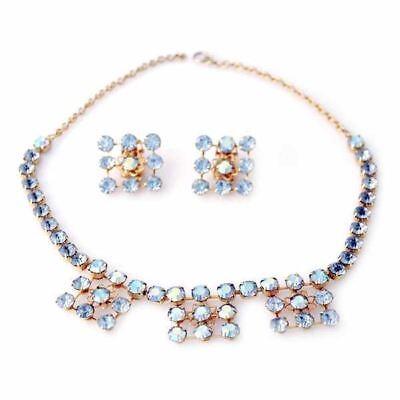 Vintage Blue Aurora Borealis Parure Necklace/Ears 1950S Estate Jewelry Costume