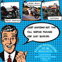 MOTORCYCLE FULL SERVICE FOR $199.95