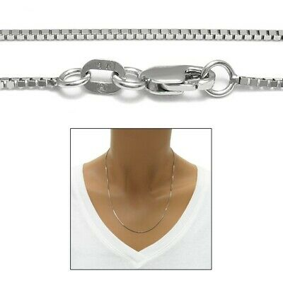 Guaranteed 14K White Gold Box Chain Necklace 1mm w/ Lobster Lock