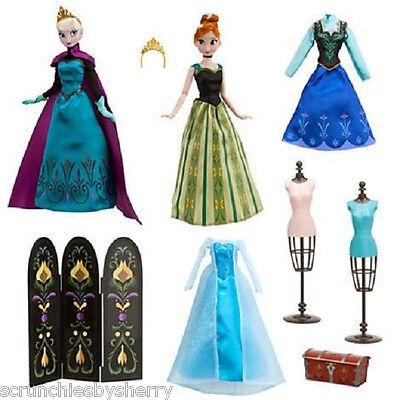 Disney Frozen Elsa Anna Doll Fashion Set Dresses Trunk Outfits New