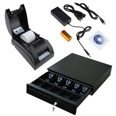 Usb 58mm Pos Thermal Dot Receipt Printer Set Electronic Cash Drawer Roll Paper