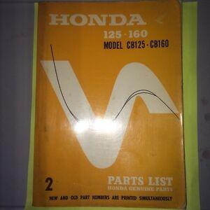 1967 Honda Model Cb125 CB160 Parts Book