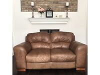 Soft Pecan Brown Leather Two Seater Sofa, DFS, RRP £900
