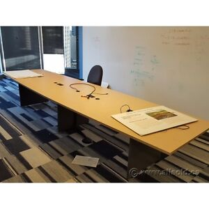 Blonde and Grey 14' Board Room Table with Connectivity Ports