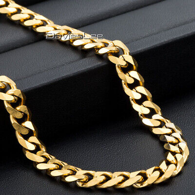 7mm Gold Tone Necklace for Mens Boys Curb Cuban Link Stainless Steel Chain  - Gold Tone Curb Link