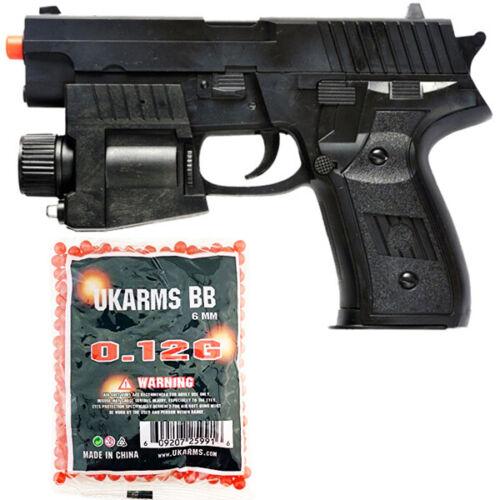 AIRSOFT SPRING HAND GUN PISTOL w/ 1000 BBs LASER SIGHT LED FLASHLIGHT 6mm BB