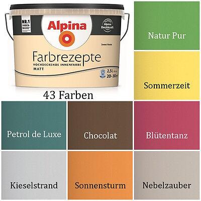 ALPINA Wandfarbe Farbrezepte 2,5 L. Wandfarbe ver. Farben