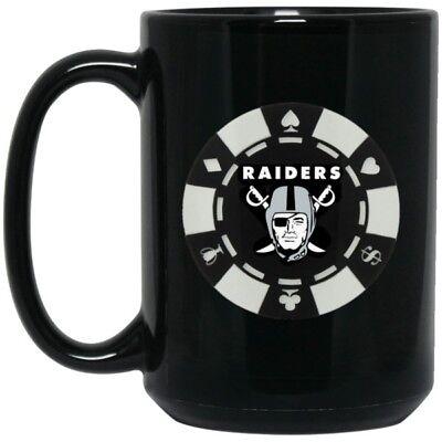 Las Vegas Raiders Coffee Mug | Player Chip | 15 oz Black Ceramic Mug Cup