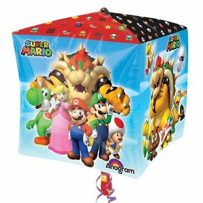 38cm Super Mario Bros Wii Video Game Children's Party Cube Shape Foil Balloon