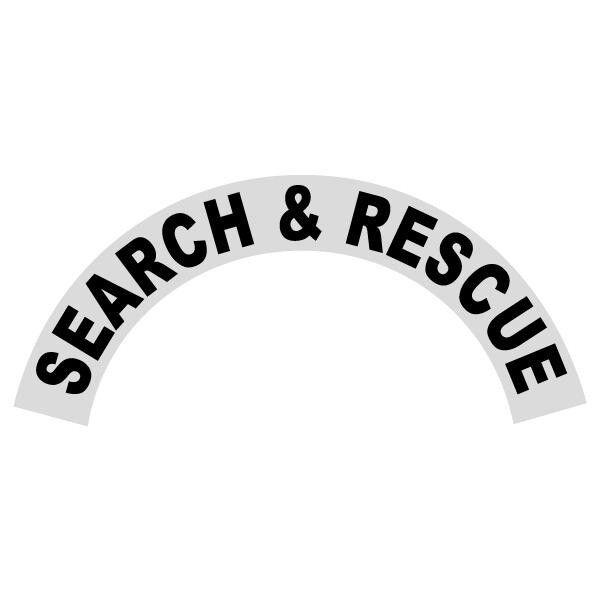 Search & Rescue Black Helmet Crescent Reflective Decal Sticker