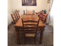 Heavy Pine Dining Table and 6 Chairs