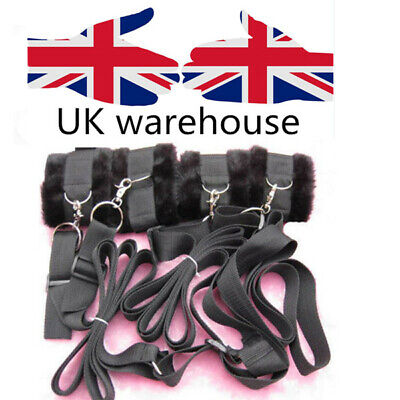 UK Black -hidden secret  New Under Bed Restraint System with Faux Fur Cuffs set