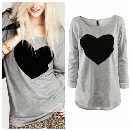 UK Size 8-22 NEW Love Womens Heart Long Sleeve Casual Loose Tee Shirt Top Blouse