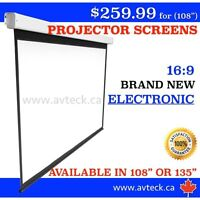 16:9 NEW Electronic Projector Screens!! 108""
