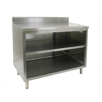 14 X 36 Stainless Steel Storage Dish Cabinet - Open Front W Backsplash