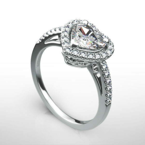 Vs1 Halo Diamond Ring Heart 1.25 Ct 14k White Gold Anniversary Size 5.5 6.5 7.5