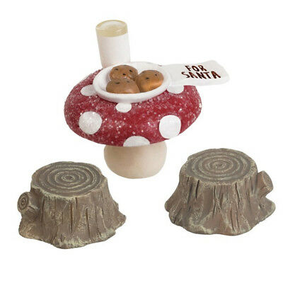 Miniature FAIRY GARDEN Gnome Holidays CHRISTMAS Mushroom Cap Santa Cookies Milk ()