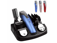 New PRITECH 6 in 1 Electric Hair Clipper Set Haircut Nose Body Trimmer Kit Rechargeable Portable