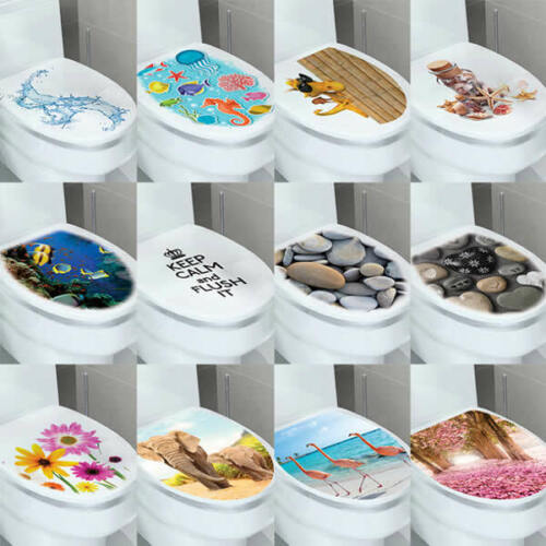 Home Decoration - DIY 3D Toilet Lid Seats Cover Wall Stickers Bathroom Decal Mural Home Decoration
