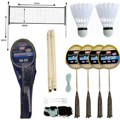 NEW 4 PLAYER BADMINTON SET WITH RACKET NET SHUTTLECOCK OUTDOOR GARDEN GAME SPORT