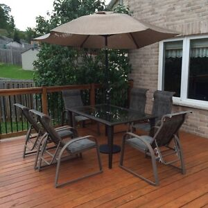 Great patio set with an umbrella and base