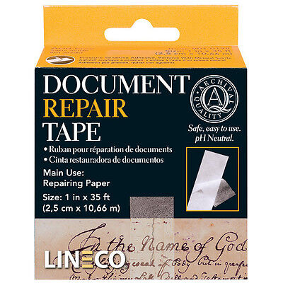 Document Repair Tape 1x35 Ft. Acid Free Thin But Strong Transparent Bin 503